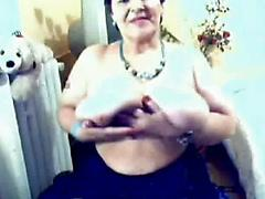 My horny busty mom showing on web cam