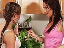 Lesbian babes drink a glass of wine and fuck hard in a kitchen