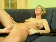 Mature Blonde German Woman Gets Fisted On The Couch