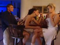 Hot Woman In Stockings Fucked Hard In Threesome Sex