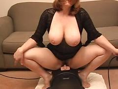 Sexy Milf With Huge Tits Rides A Sybian Toy