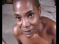 Ebony Grandma Satisfies Large White Cock