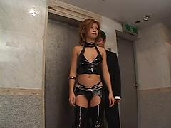 Brunette In Leather Lingerie Toys Her Cunt
