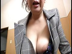 Asian Office Babe Gets Fingered Through Pantyhose And Sucks