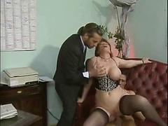Mature Babe In Nylons Has Nice Tits And Fucks Two Horny Dudes