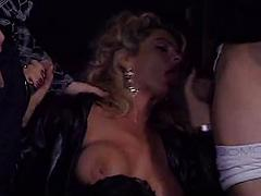In The Theater A Blonde Babe Sucks Off Two Dicks