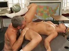 Old Man With Big Cock Gets A Hot Chick And Fuck Up Her