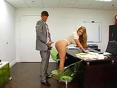 Busty Businesswoman Fucks Her Boss On His Desk