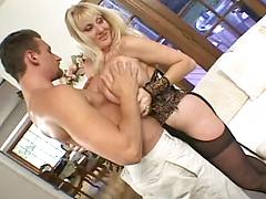 Blonde With Gigantic Tits Gets Fucked And Cummed On