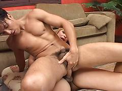Two Hot Trannies Blowing Their Loads On A Young Studs Face