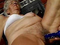 Skinny Extremely Old Granny Pleasures Her Loose Lips