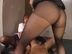 Asian Girls Play With Cock With Their Feet