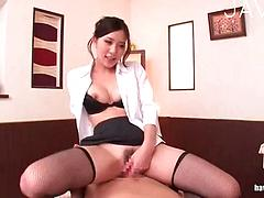 Cute Asian Chick Sucks And Fucks At The Office