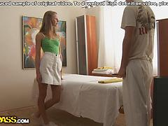 Blond gets a rubdown and opens up her gams for a plowing