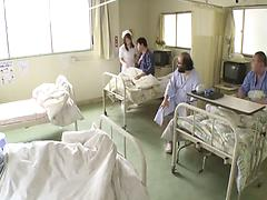 Insatiable Asian nurse in a uniform gets roughly gangbanged and creampied
