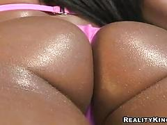 Gorgeous Latina babe with a breathtaking butt fucked wildly near a pool