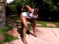 Hot ebony bitch gets screwed by horny fellows in interracial action