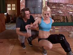 Agile blonde sucks balls and gets pussy plowed in a wild action