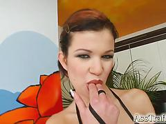 Hot babe Virginia shows off her ass gape gets it fucked