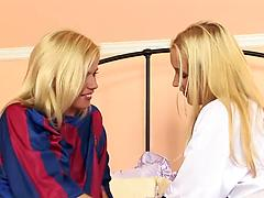 Blonde lesbian sluts fuck each other with fingers and suck twats