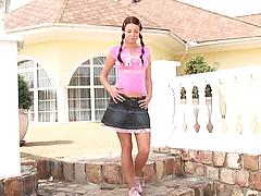 Tall sweet teen girl in a miniskirt strips and masturbates in a street