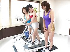 Sporty Asian lezzies finger each other's starving pussies