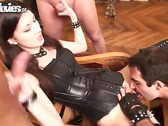 Mouthwatering bombhell with small tits in a BDSM sex play with three guys