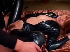Asian babe in leather gets her lascivious pussy pounded hardcore