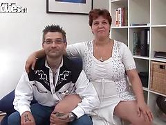 Filthy mature chick Renate Zug gets licked and toyed by a tattooed dude