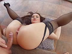 Young long-haired slut in black stockings gets anal pleasure