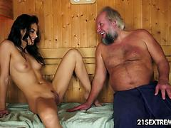 Old Man's Sauna Adventure With A Smoking Hot Teen