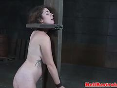 Bdsm submissive caned and flogged roughly