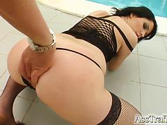 Chick in fishnet stockings enjoys an ass fucking session