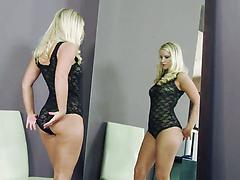 Curvaceous blonde angel with big natural knockers in a solo play
